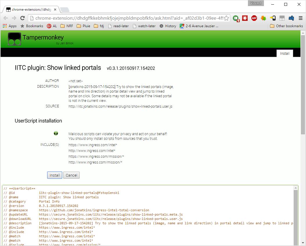 Tampermonkey UserScript installation